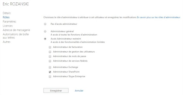 roles administration office 365