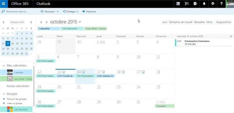 Calendrier d'un groupe Office 365